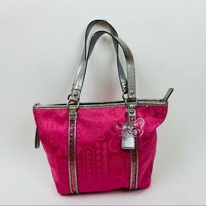 Coach hot pink poppy logo full zip tote bag purse